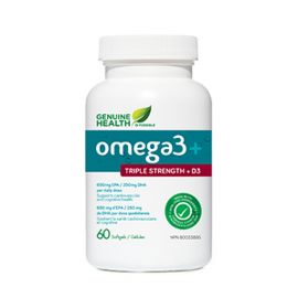 Genuinehealth Omega3 + triple strength + D3 60softgels