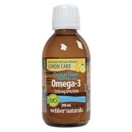 Webber Naturals Crystal Clean from the sea - Omega-3 Liquid 1250 mg EPA/DHA 1000 IU Vitamin D3 200 mL Lemon Cake Flavour