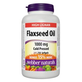 Webber Naturals Flaxseed Oil 1000 mg 210 Softgels