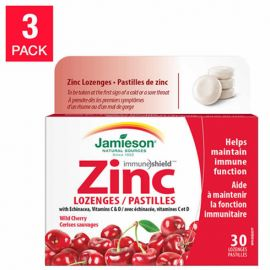 Jamieson Wild Cherry Zinc Lozenges with Echinacea Vitamins C & D  30 count 3 pack