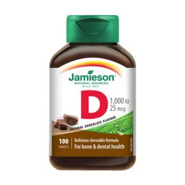 Jamieson Vitamin D Chewable 1000IU 25mcg Chocolate 100tablets.