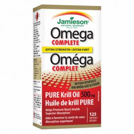 Jamieson Omega Complete Super Krill 500 MG Extra Strength  125 Softgels