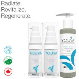 Youva Daily Revitalizing Trio: Organic Cleanser, Organic Serum and Organic Anti-aging Eye-cream