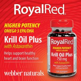 webber naturals 750 mg Royal Red Krill Oil Plus with Astaxanthin, 120-count