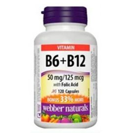 Webber Naturals B6, B12 with Folic Acid 120 Capsules