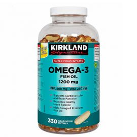 Kirkland Signature Super Concentrate Omega-3 Fish Oil, 1200 mg, 330 Softgels