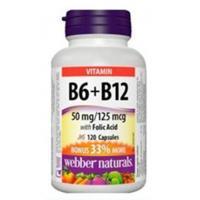Webber Naturals B6, B12 with Folic Acid 120 Capsules